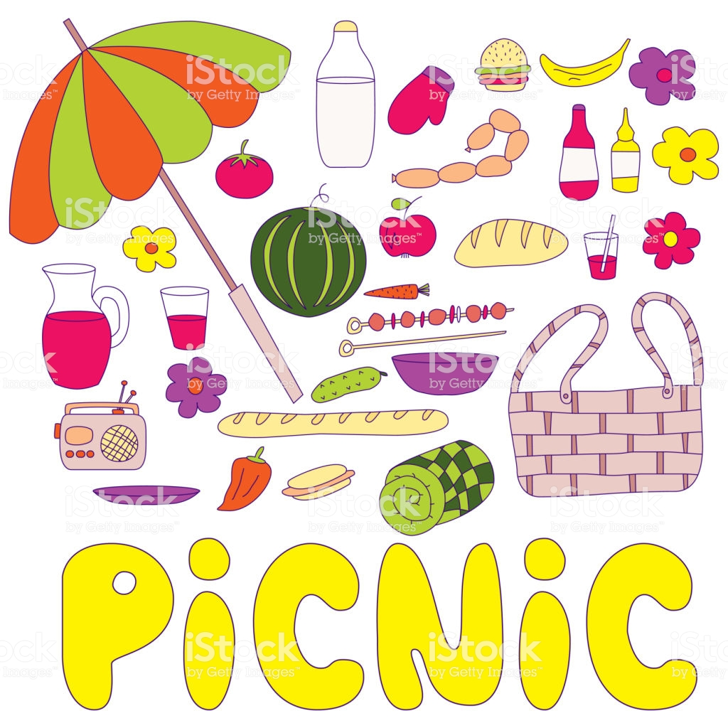 Summer Picnic Doodle Set With Inscription Picnic . Various Meals, Drinks, Objects. Colorful Illustration Isolated Over White Background.